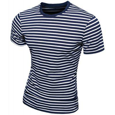 Trendy Round Neck Stripes Print Short Sleeve Men's T-Shirt