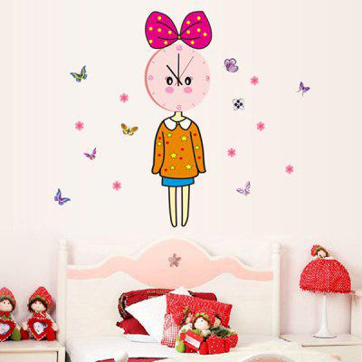 Buy COLORMIX High Quality Beauty Girl Butterfly Pattern DIY Wall Sticker Clock for $13.22 in GearBest store