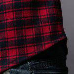 Trendy Collar Turn-Down Shirt Plaid impression manches longues hommes - CARRé