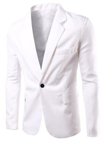 Buy Turn-Down Collar Solid Color Single Breast Long Sleeve Men's Blazer 3XL WHITE