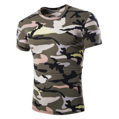 Vogue Round Neck Camo Print Short Sleeves Loose Fit T-Shirt For Men