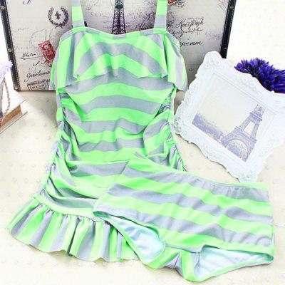 Sweet Push Up Stripe Two Piece Swimsuit For Women
