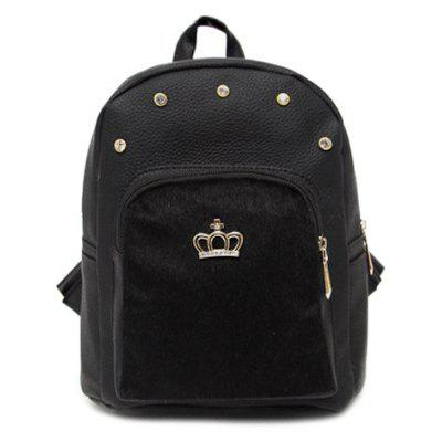 Trendy Black Color and Crown Design Backpack For Women
