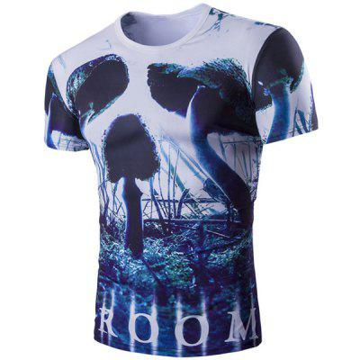 Vogue Short Sleeves 3D Skulls Pattern Round Neck T-Shirt For Men