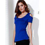 Stylish Scoop Neck Short Sleeve Solid Color Cut Out Lace Splicing T-Shirt For Women deal