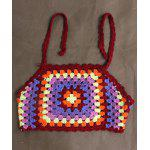 Cute Halter Knitted Color Block Girl's Cropped Top - MULTICOLORE