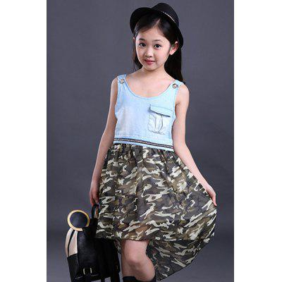 Cute Scoop Neck Sleeveless High Low Camouflage Color Dress For Girl