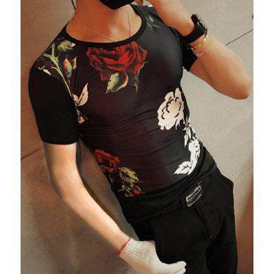 Modish Round Neck Rose Pattern Short Sleeve Men's T-Shirt