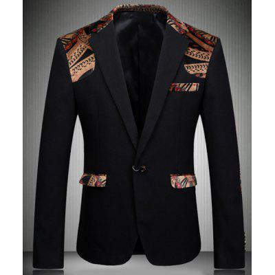 Turn-Down Collar Elbow Patch Splicing Long Sleeve Men's Blazer