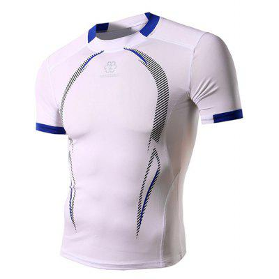Buy WHITE XL Color Spliced Stripes Print Round Neck Short Sleeves Sweat Dry Tight T-Shirt For Men for $14.38 in GearBest store