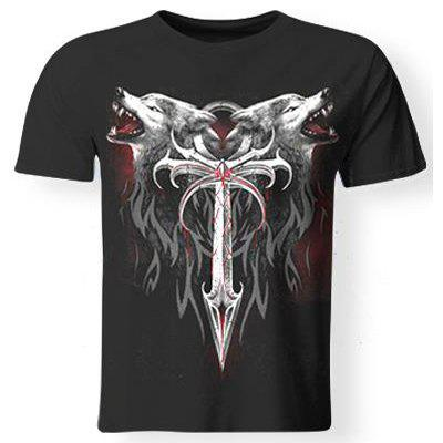 3D Wolf and Sword Print Round Neck Short Sleeves Cool T-Shirt For Men