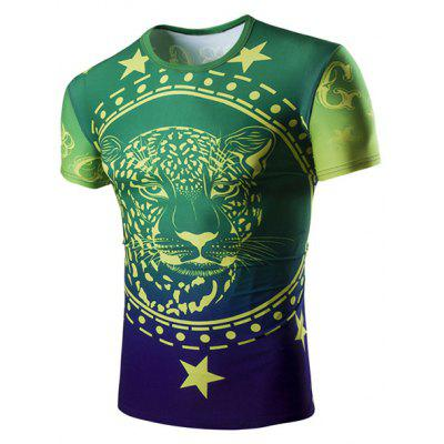 Buy GREEN Slim Fit Pullover Lion Printing T-Shirt For Men for $13.75 in GearBest store