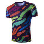 Slim Fit Pull Camo Splicing Impression T-shirt pour les hommes - COLORé
