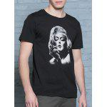 Classic 3D Monroe Print Round Neck Short Sleeves T-Shirt For Men deal