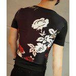 Modish Round Neck Rose Pattern Short Sleeve Men's T-Shirt deal