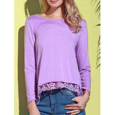 Stylish Solid Color Lace Spliced Hem Long Sleeve T-Shirt For Women