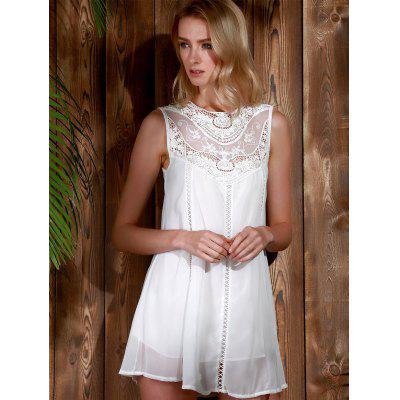 Lace Panel Chiffon Casual Summer Short A Line Dress