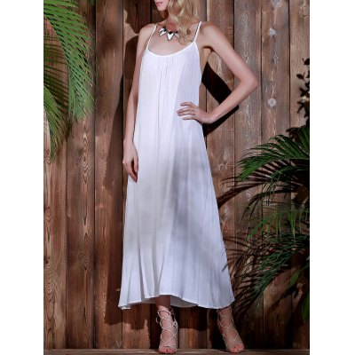 Long Open Back Beach Casual Maxi Slip Dress