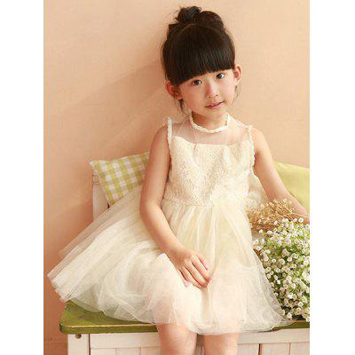 Sweet Sleeveless Round Neck Spliced Ball Gown Girl's Dress