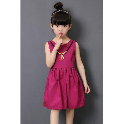 Sweet Jewel Neck Sleeveless Necklace Design Girl's Mini Dress