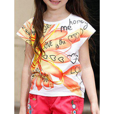 Sweet Short Sleeve Flower Print Letter Pattern T-Shirt For Girl