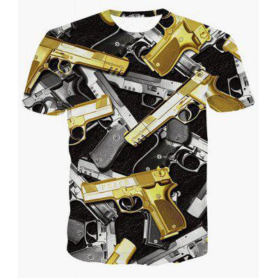 Vogue Round Neck 3D Gun Print Short Sleeves Cool T-Shirt For Men