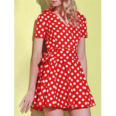 Vintage V-Neck Polka Dot Print Short Sleeve Ball Dress For Women
