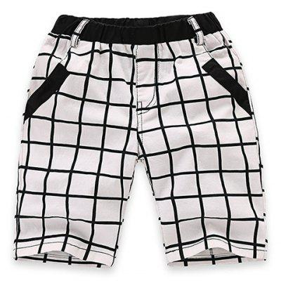 Fashionable Elastic Waist Pocket Design Plaid Shorts For Boy