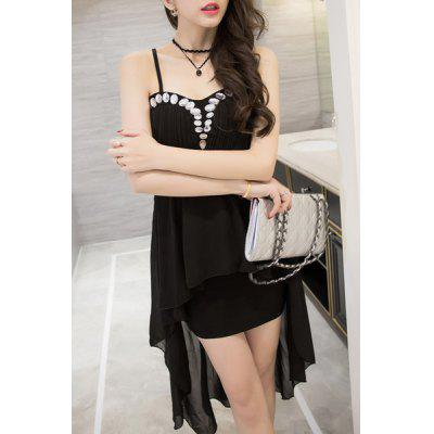 Stylish Spaghetti Strap Rhinestoned Women's Swallow Tail Dress