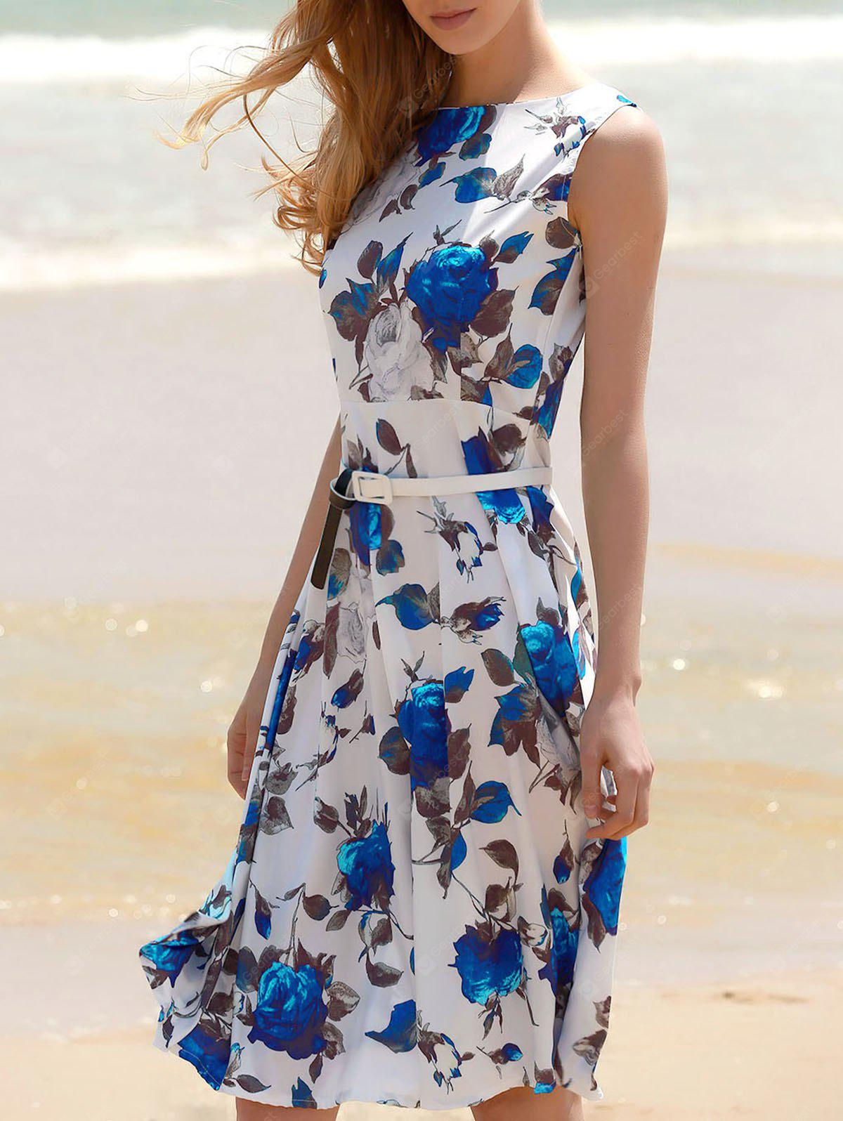 Floral Print A Line Sleeveless Midi Dress