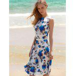 Floral Print A Line Sleeveless Midi Dress - BLUE