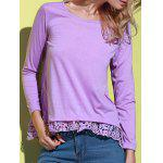 Stylish Solid Color Lace Spliced Hem Long Sleeve T-Shirt For Women - PURPLE
