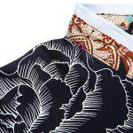 Stand Collar Floral Printing Short Sleeve Men's T-Shirt deal