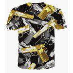 cheap Vogue Round Neck 3D Gun Print Short Sleeves Cool T-Shirt For Men