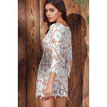 Elegante girocollo a maniche 3/4 donne del fiore Crochet Lace Cover-Up - BIANCO