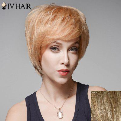 Skilful Fluffy Human Hair Short Side Bang Wig For Women