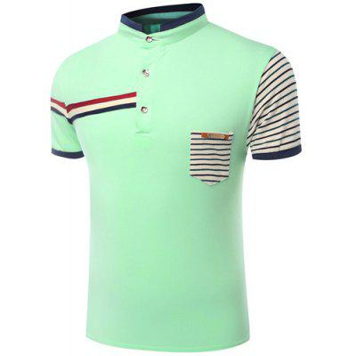 Stand Collar Color Block Stripes Print Short Sleeve Men's Polo T-Shirt