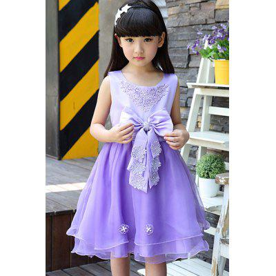 Buy PURPLE Sweet Scoop Neck Sleevelss Bowknot Embellished Girl's Dress for $21.84 in GearBest store