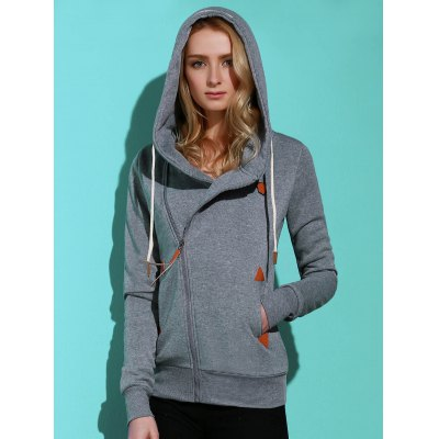 Casual Style Solid Color Long Sleeves Hoodie für Frauen