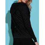 Casual Style Solid Color Long Sleeves Hoodie For Women - BLACK