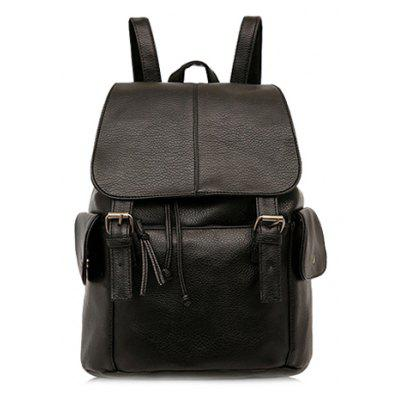 Trendy Solid Colour and Double Buckle Design Backpack For Women