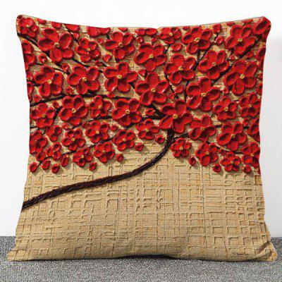 High Quality 3D Red Flowers Pattern Flax Pillow Case(Without Pillow Inner)