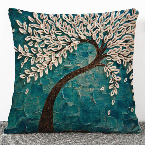 Buy 3D Trees Pattern Flax Pillow Case(Without Inner) GREEN
