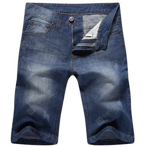 Casual jambes droites Zip Fly Denim Shorts pour hommes