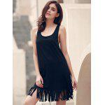 U-Neck Sleeveless Fringed Cover-Up - BLACK