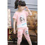 cheap Sweet Short Sleeve Cartoon Pattern Print T-Shirt + Pants Girl's Twinset