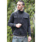 Stylish Turndown Collar Slimming Pocket and Button Design Long Sleeve Polyester Sweatshirt For Men deal