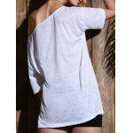 Casual 1/2 Sleeve Loose-Fitting Solid Color T-Shirt For Women - WHITE