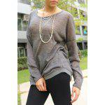 Women's Stylish Scoop Neck Asymmetrical Long Sleeve Sweater photo