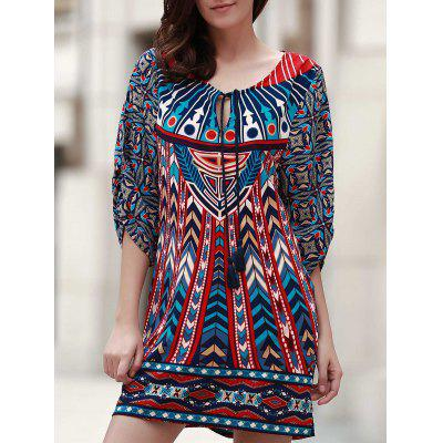 Vintage V Neck 3/4 Sleeves Printed Women's Dress